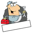 Logo Mascot-Man Carrying A Wrench And Tool Box vector image