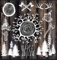 lumberjack set on wooden background vector image