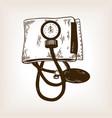 medical blood pressure meter engraving vector image