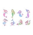 mermaids cartoon set cute underwater princesses vector image