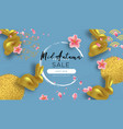 mid autumn festival sale template gold rabbit vector image vector image