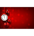 New year red background with christmas balls vector image vector image
