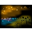 Night landscape with flowers and grass vector image