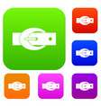 oval belt buckle set color collection vector image vector image