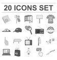 production of advertising monochrome icons in set vector image vector image