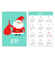 santa claus and gift bag red hat pocket calendar vector image vector image