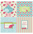 set colorful cards with rose elements vector image
