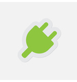 simple green icon - electrical plug symbol vector image