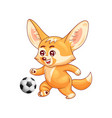 smiling fennec fox plays soccer cute kawaii vector image vector image