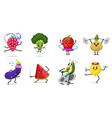 sports fruit characters set of cute healthy vector image