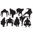 Sumo wrestlers silhouette vector image vector image