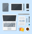 Top view Computer Laptop design on desk vector image