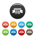 vape store ribbon icons set color vector image vector image