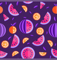 watermelon and orange seamless pattern fruit vector image