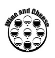 wine and cheese logotype black and white design vector image vector image
