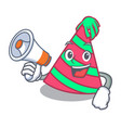 with megaphone party hat character cartoon vector image vector image