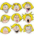 woman emotions - of woman with many facial vector image vector image