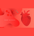 world heart day banner with human heart on red vector image