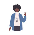 young african-american woman waving with hand vector image vector image