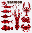 set of different stylized seafood vector image