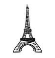 doodle black eifel tower hand drawn vector image