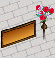 memorial plaque and flowers vector image