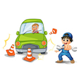 A car accident and a mechanic vector image vector image