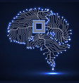 abstract technological glowing brain cpu vector image vector image