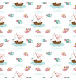 adorable bunny seamless pattern vector image vector image