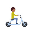 african boy riding electric scooter over white vector image