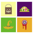 assembly flat icons halloween zombie eyes bag vector image vector image