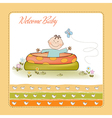 baby bathe in a small pool shower announcement vector image