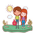 beautiful little kids in the landscape characters vector image