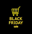 black friday creative shopping cart icon with vector image vector image