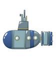 blue grey submarine icon cartoon style vector image