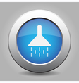 blue metal button with shower vector image vector image