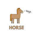 cartoon horse flashcard for children vector image vector image