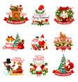 christmas holiday badge for new year decoration vector image