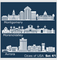 cities usa - aurora moreno valley montgomery vector image vector image