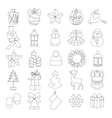 Collection of line christmas elements and vector image vector image