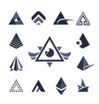 collection triangles icons vector image vector image
