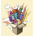 colorful large firework in cardboard box pop art vector image vector image