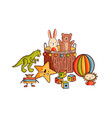 composition different childish toys flat vector image vector image