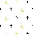 cross and moon black and white simple scandinavian vector image