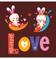 cute bunnies word Love retro typography lettering vector image vector image