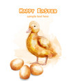 easter ducky watercolor card happy easter vector image vector image