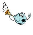 fan horn loud sound character soccer ball vector image vector image