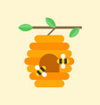 flying bees and beehive on branch vector image vector image
