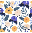 gorgeous seamless floral pattern with irises and vector image vector image