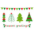 greeting card with christmas trees and decoration vector image vector image